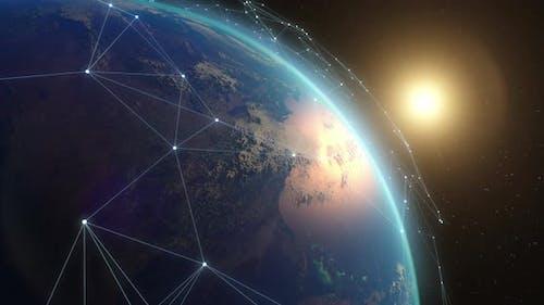 Modern Satellite Network Over Earth