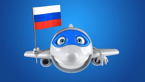 5 cartoon Planes with flags