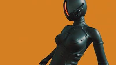 Fashion Model Wearing Leather Futuristic Suit