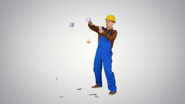 Thumbnail for Comic builder in a hard hat throwing euro money in the