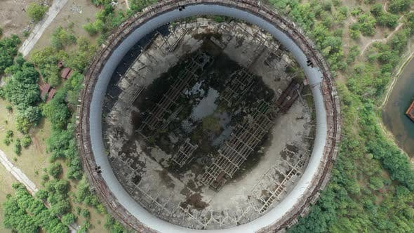 Thumbnail for Top View of Huge Cavity Inside Cooling Tower