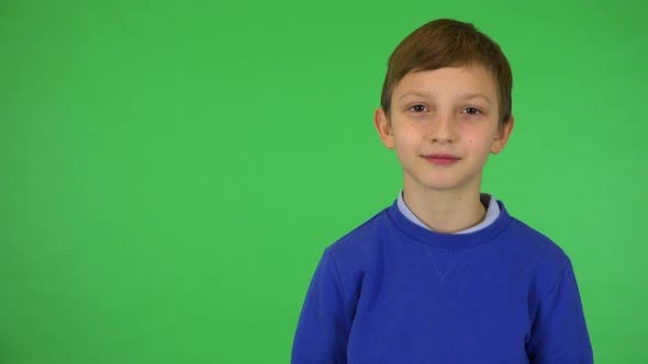 Thumbnail for A Young Cute Boy Waves at the Camera with a Smile - Green Screen Studio