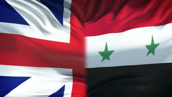 Thumbnail for Great Britain vs Syria Conflict, Fists on Flag Background, Diplomatic Crisis