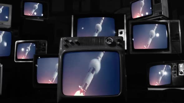 Thumbnail for Apollo 11 Launch on a Retro TV Wall. Black and White Tone.