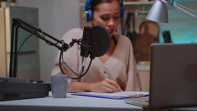 Presenter Writing on Clipboard