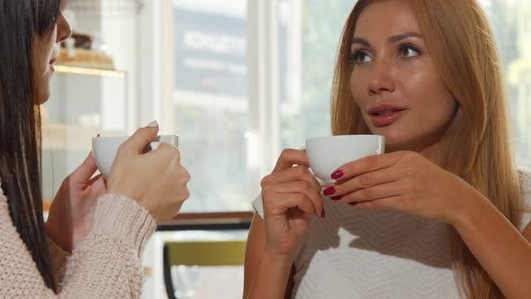 Thumbnail for Happy Women Friends Talking Over a Cup of Coffee at Cozy Bakery Shop