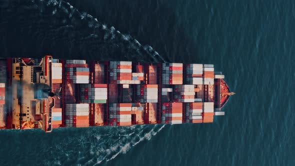 Thumbnail for Cargo Ship Carrying Container Vertical Video