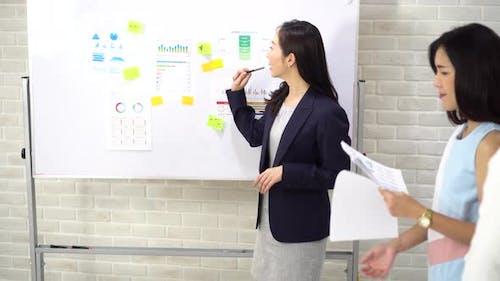 Selbstbewusste asiatische Geschäftsfrau, die Präsentation für Mitarbeiter macht