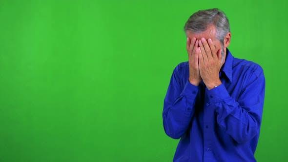 Thumbnail for Old Senior Man Criees - Green Screen - Studio