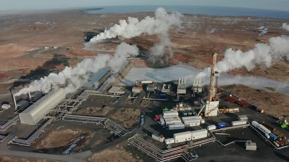 Thumbnail for A Bird's-eye View of a Plant Producing Clean Energy Using Geothermal Sources. Iceland. Winter 2019