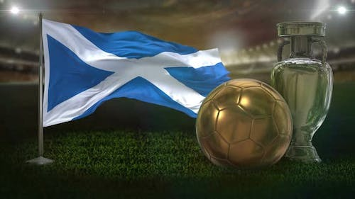 Scotland Flag with Football And Cup Background Loop