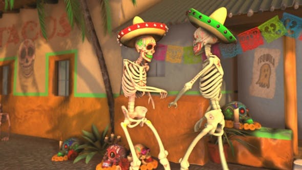 Thumbnail for Mexican Dancing Skeletons In A Village #3