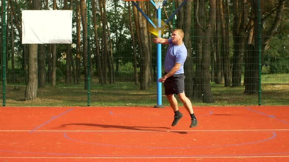Thumbnail for Man Playing Tennis Match Hitting Forehand on Court