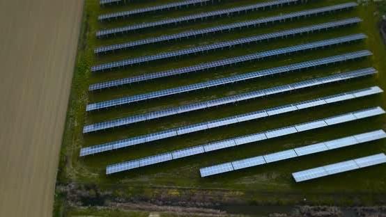 Breite blaue Photovoltaik-Panel-Reihen auf grünem Rasen