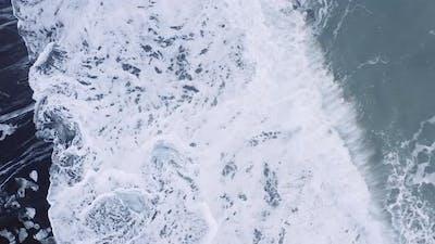 Drone of Surf Crashing on Diamond Beach Iceland
