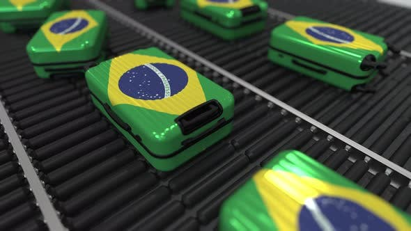 Thumbnail for Many Travel Suitcases Featuring Flag of Brazil