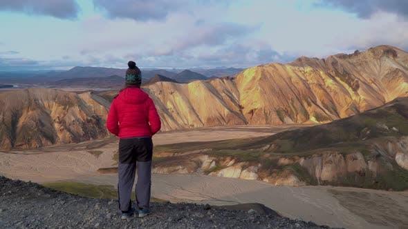 Thumbnail for A Girl Looks at the Beautiful Landscape Landmannalaugar Nature l