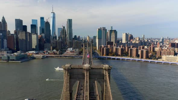 Thumbnail for New York City and Brooklyn Bridge Aerial View From Above the Bridge. Manhattan Skyscrapers.