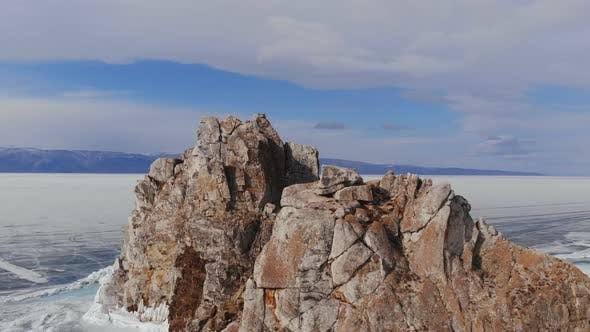 Thumbnail for Aerial View of Winter Landscape of Rocky Mountains on Lake Baikal