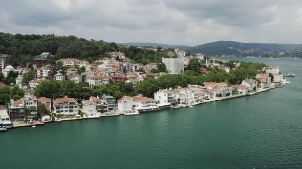 Istanbul Bosphorus And Waterside House Aerial View