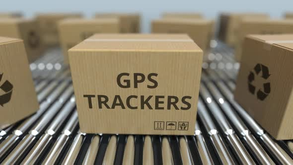 Cartons with GPS Trackers on Conveyors