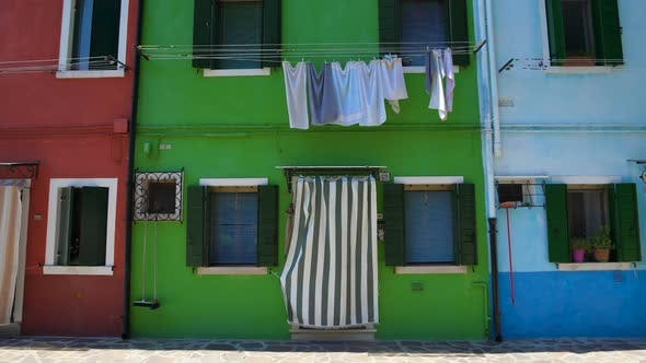 Thumbnail for Cozy Neighborhood With Tidy Houses Painted in Bright Colors on Burano Island