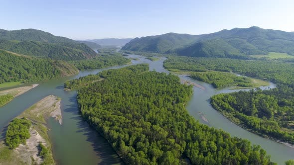 Thumbnail for Aerial View on River in Siberia