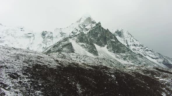 Thumbnail for Ama Dablam Mountain and Cloudy Sky, Himalaya, Nepal, Aerial View