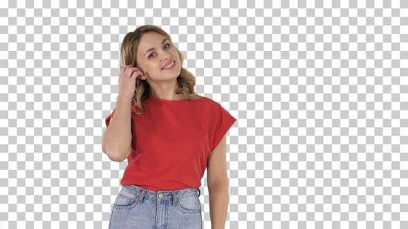 Thumbnail for Young attractive happy model standing and smiling, Alpha Channel