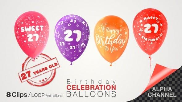 Thumbnail for 27th Birthday Celebration Balloons / Twenty-Seven Years Old
