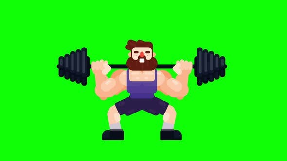 Man is working out and lifting heavy barbell.
