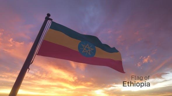 Ethiopia Flag on a Flagpole V3