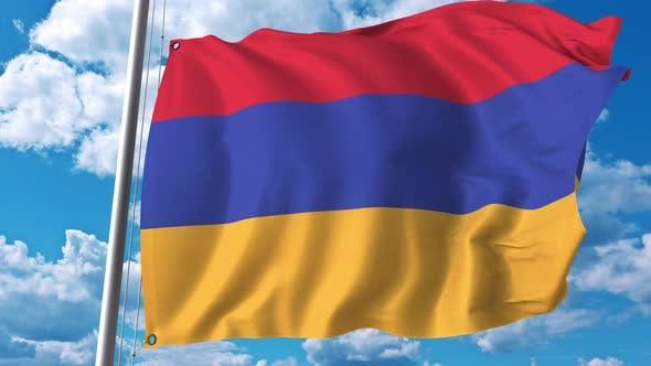 Thumbnail for Many Waving Flag of Armenia on Sky Background