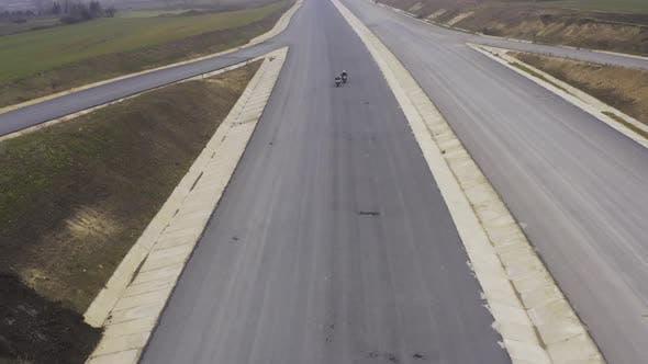 Motobikers Racing Highspeed Aerial View