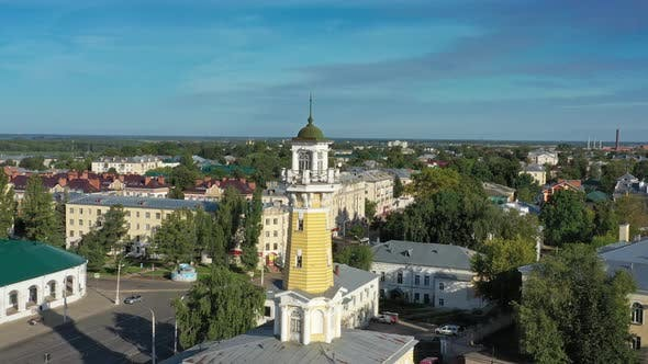 Thumbnail for Aerial Around View of Fire Tower in Kostroma