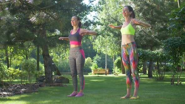Thumbnail for Happy Fit Women Doing Pilates Training in Park