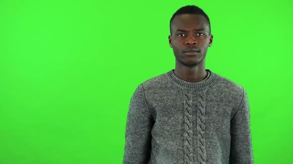 Thumbnail for A Young Black Man Protests at the Camera - Green Screen Studio