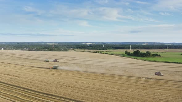 Thumbnail for Drone Flies Over Harvester Machines Cuts Wheat Crop in Rural Yellow Field. Agriculture Food