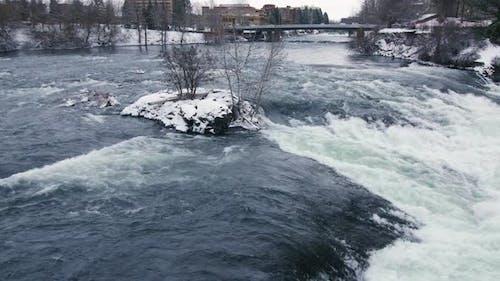 Cold Winter Day At Snowy Spokane Riverfront Park