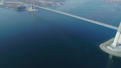 Aerial Tilt Shot of the Russky Road Bridge