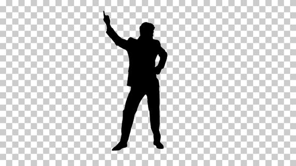 Thumbnail for Silhouette Very cool young dancing businessman, Alpha Channel