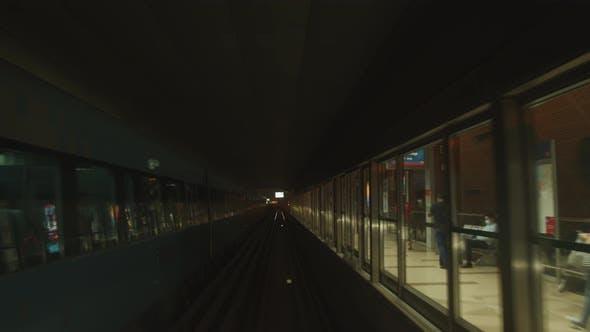 Dubai Metro Train Arriving on the Subway Station