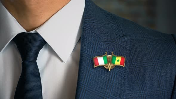 Businessman Friend Flags Pin Italy Senegal
