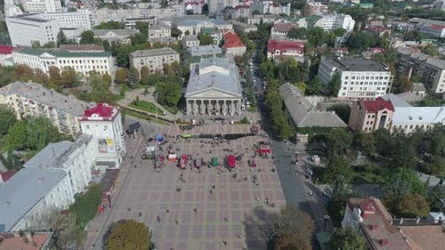 Aerial of Ternopil, with the Academic Drama Theatre