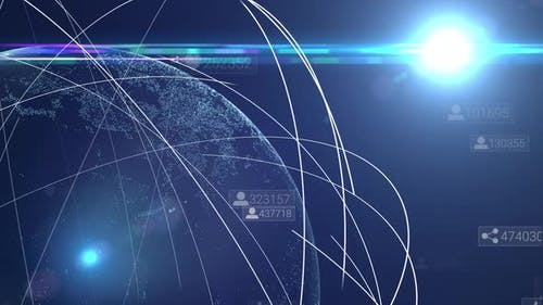 Data animation of social network connection. Global network surrounding planet