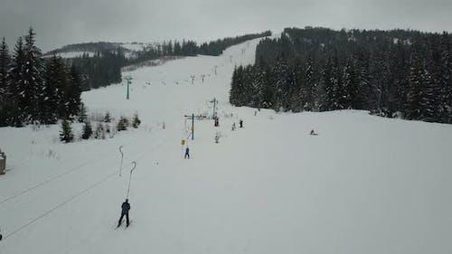 Flight Over a Ski Lift in Carpathian Mountains