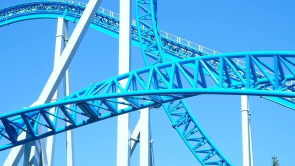 Thumbnail for Rollercoaster Upside Down Close-up in an Amusement Park, Slow Motion