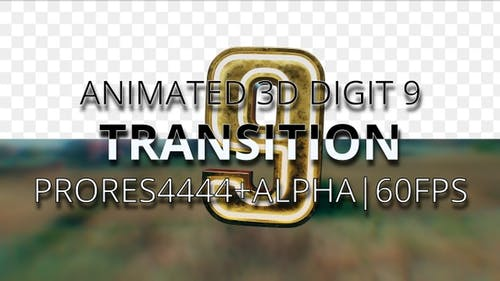 Animated digit 9 transition UHD 60fps