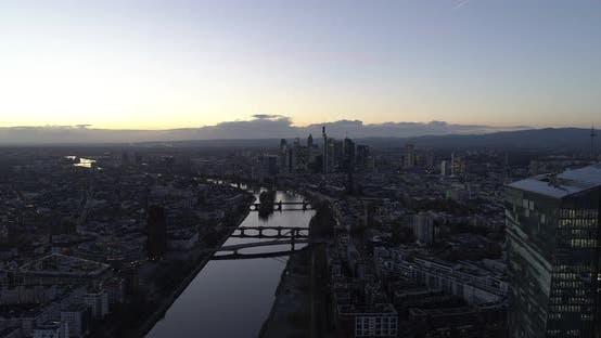 Thumbnail for Establishing Shot of Frankfurt Am Main, Germany Skyline at Dusk Sunset Light with European