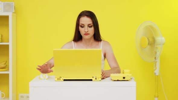 Erfolgreiche Frau arbeitet am Laptop
